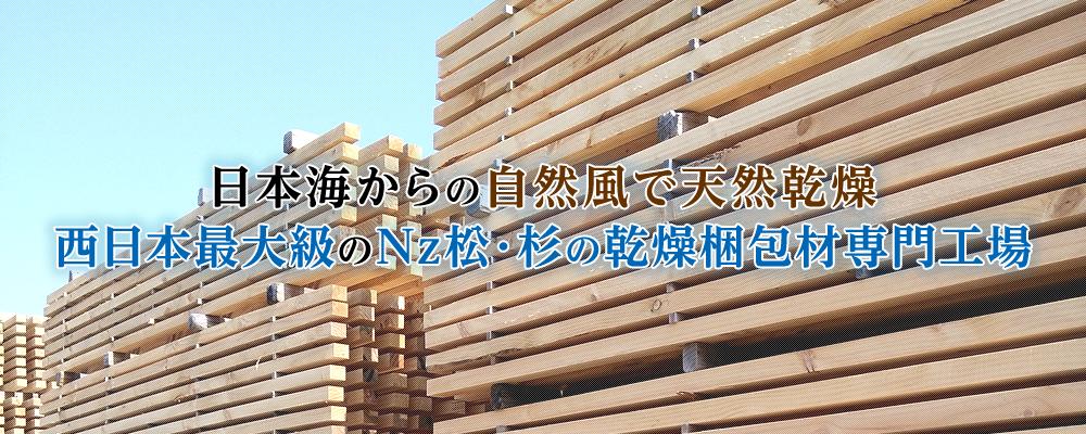 日本海からの自然風で天然乾燥西日本最大級のNz松・杉の乾燥梱包材専門工場