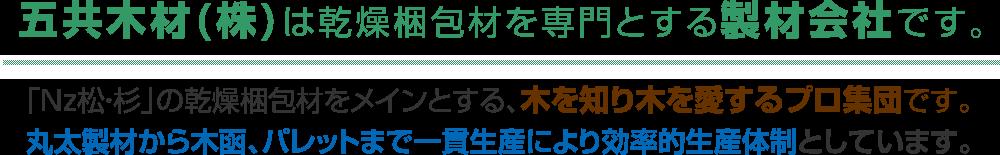 五共木材(株)は乾燥梱包材を専門とする製材会社です。